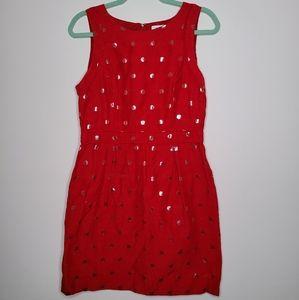 Elle red polka dot dress